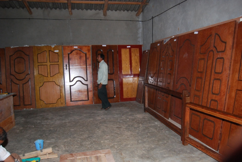 A View of Finished Wood Substitute MOLDED DOORS